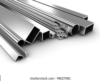 Illustration of products of the different form from metal