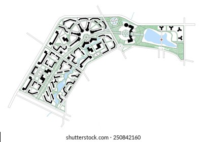 illustration project master plan of the city district linear and color