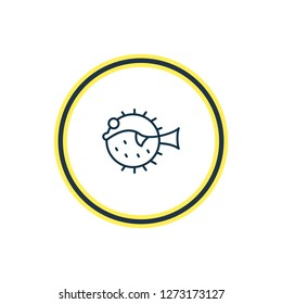 illustration of puffer fish icon line. Beautiful marine element also can be used as blowfish icon element.