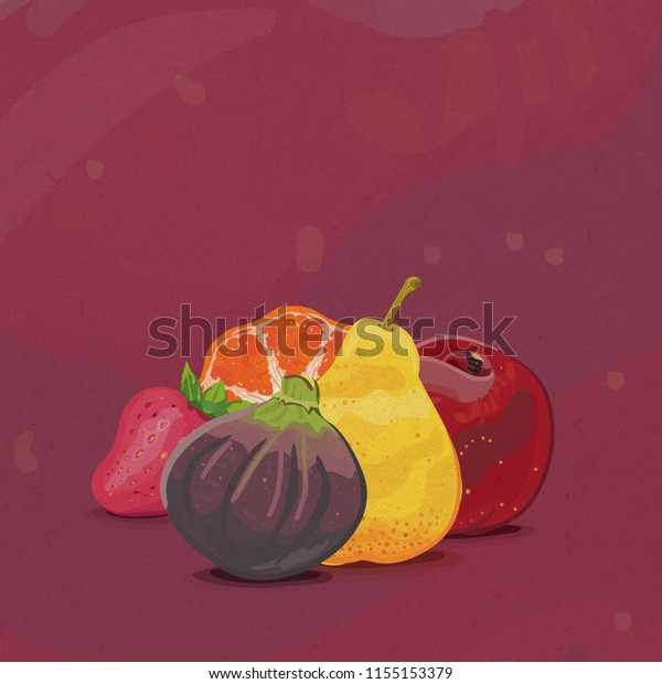 Illustration of purple fig, peach, pink strawberry, orange and yellow pear fruits on a mauve abstract background