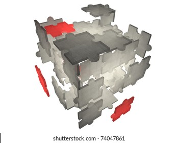 "Illustration of puzzle pieces exploding - demonstrating the ""missing piece of the puzzle"""