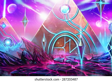 """Illustration: The Pyramids City - It's a civilization conquered by the """"High Priest"""" who has been exiled by the Queen. - Scene Design - Scifi Style"""
