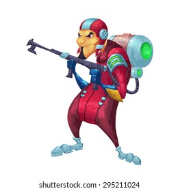 Illustration: The Pyro Fire Shooter with Flamethrower. Element / Character Design. Crazy and Fantasy Future World Topic. Realistic / Cartoon / Fantastic / Scifi Style