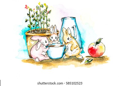 Illustration. Rabbits near cup of coffee in the background and coffee pot with seedlings of flowers. Drawn watercolor.