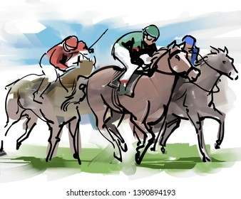 It is an illustration of a racehorse for horse racing.