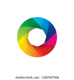 Illustration of rainbow colorful camera lens shutter open aperture isolated on white background