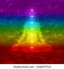 Illustration - Rainbow Yoga Chakra concept