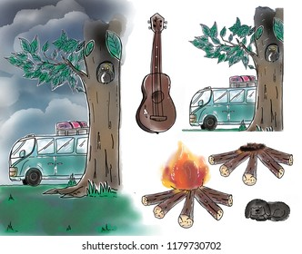 illustration  Raining collection,bus,tree,campfire,guitar,black,puddle dog in holliday