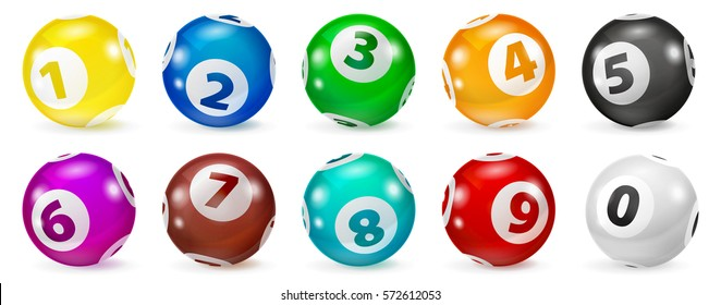 Illustration of realistic 3D color lotto balls lined up in two rows. Lotto ball. Lottery number balls set.