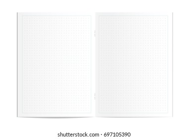 Illustration of realistic blank dotted copy book spread isolated on white background. Bullet journal, organizer, planner pages