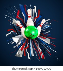 illustration, realistic bowling ball bowling pins, abstract blue red white background