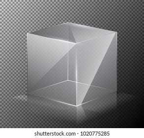 illustration of a realistic, transparent, glass cube isolated on a gray background. 3-D design