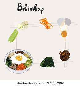 Illustration for recipe bibimbap. Bibimbap korean traditional dish with fried egg. Asian cuisine. Set of bibimbap products. Hand drawn illustration.