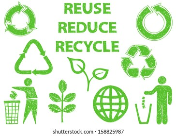 Illustration of recycle doodle icons - doodle drawings on white background