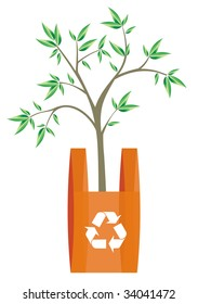 illustration of recycling arrows symbol in a bag with a tree inside. Metaphor of the importance of recycling plastics attitude