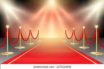 illustration of red carpet in festive stage lights. Event design element. illustration.