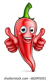 An illustration of a red chilli pepper cartoon character giving thumbs up