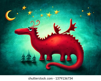 Illustration of a red dragon