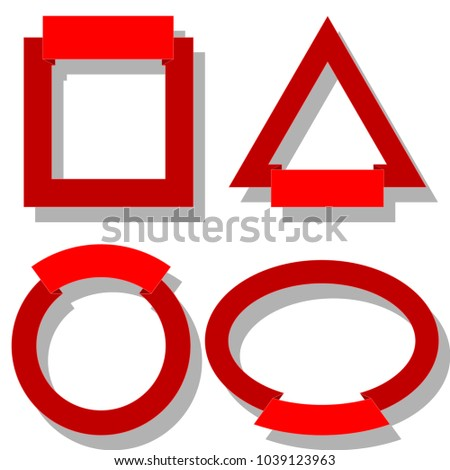 Illustration Red Frames Different Shapes On Stock Illustration ...