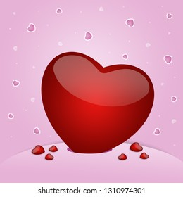 an illustration of a red heart on pink background