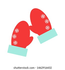illustration. Red mittens. Snowflakes on mittens. Flat design