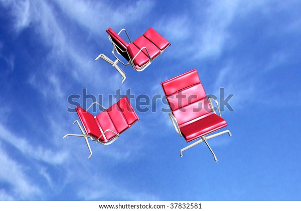 illustration of red office chairs over blue sky background