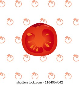 Illustration, red realistic slice of the tomato without outline on an outlined background.