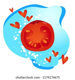 Illustration, red realistic slice of the tomato without outline, with hearts and bubbles