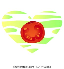 illustration, red realistic slice of the tomato without outline on a light-green and yellow striped background