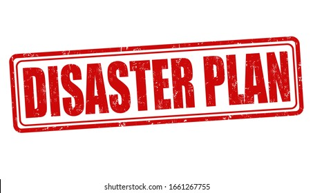An illustration of a red stamp of Disaster Plan on a white background