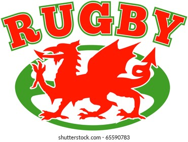 illustration of a red welsh wales dragon with rugby ball in background