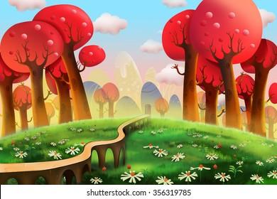 Illustration: Red Woods. Realistic Fantastic Cartoon Style Artwork Scene, Wallpaper, Story Background, Card Design