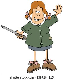 Illustration of a redheaded hillbilly girl waving and holding a double-barrel shotgun.