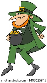Illustration of a redheaded Irish leprechaun dancing a jig while holding a pot of gold coins.