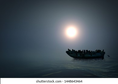 Illustration of a refugee boat on the sea. Hopeless people. Dark colour and mysterious atmosphere. 3D Render.