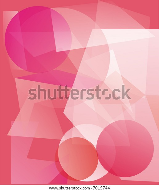 The illustration representing various geometrical translucent figures of pink, white and red color on a pink background