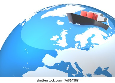 The illustration represents the Northern Sea Route. This is computer Generated image