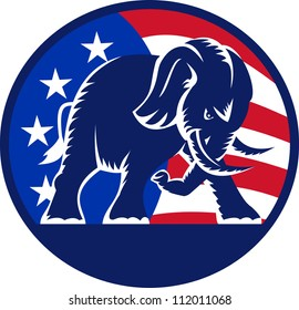 Illustration of a republican elephant mascot with American USA stars and stripes flag circle done in retro style.