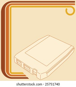 Illustration of a retro 70s border and an 8-track tape.