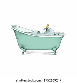 Illustration of a Retro bathtub with bath duck and water
