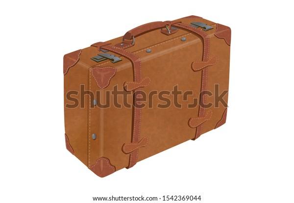Illustration of retro leather trunk
