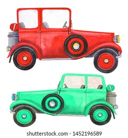 Illustration with retro old-timer car and  poppy. Isolated element on a  white background. Hand painted in watercolor.
