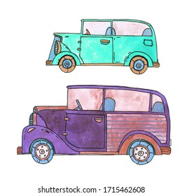 illustration with retro vintage cars. doodle watercolor draw