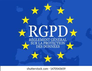 Illustration with RGPD èglement général sur la protection des données, the french words for General Data Protection Regulation GDPR