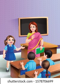 AN ILLUSTRATION FOR RHYMES OR STORIES BOOKS TEACHER IN A CLASSROOM WITH STUDENTS