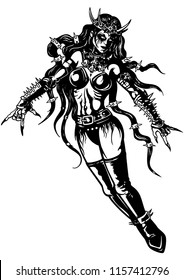 Illustration a rising woman in extremal costume with rock gestures (sign of the horns).