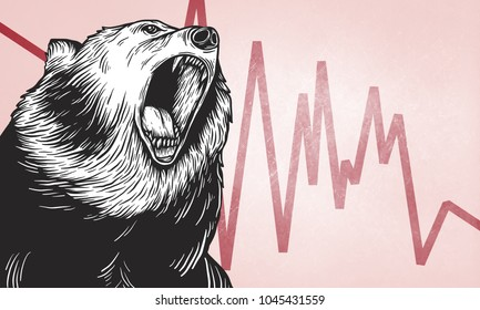 Illustration of roaring bear