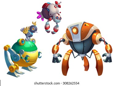 Illustration: Robot Competition, the Fight Begins. Removed the Texts. Realistic Cartoon Style. Bizarre Concept Design.