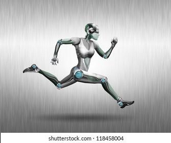 Illustration of a robot woman that runs along the metal wall