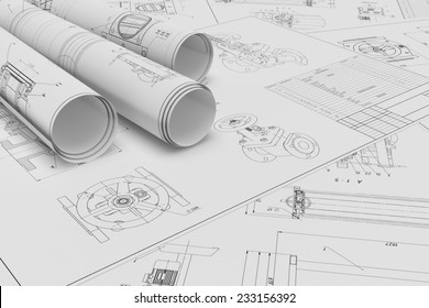 Illustration of roll and flat technical drawing